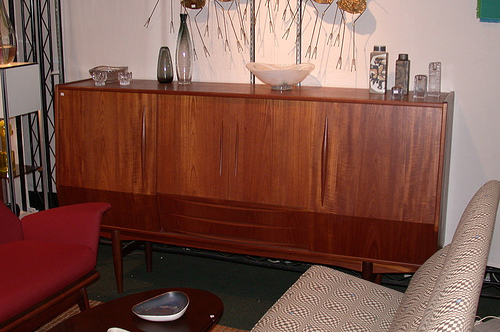 Mid-century Danish modern sideboard made of teak. Sideboard is made in Denmark. Photo was taken in Los Angeles, California. Color photo by David Johnson. December 2005.