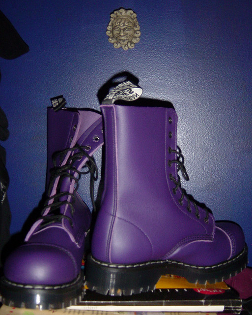 A pair of purple boots.