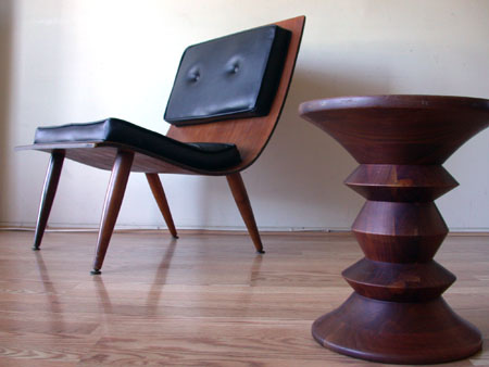 1950's Danish style mid-century modern chair and endtable
