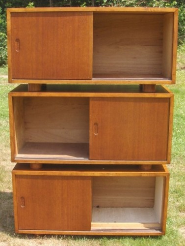 Danish modern stacking hutch cabinets