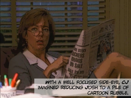"C.J. Cregg (portrayed by Allison Janney) sits with her feet on Josh Lyman's desk reading a newspaper and looking disgusted on the 1999-2006 television drama The West Wing. Season 1, episode 3 ""A Proportional Response."""