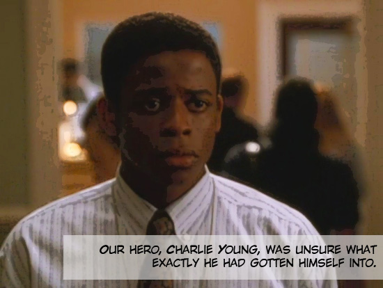"""Charlie Young (portrayed by Dule Hill), looking apprehensive right before he becomes the President's personal aide on the 1999-2006 television drama The West Wing.  Season 1, episode 3 """"A Proportional Response."""""""