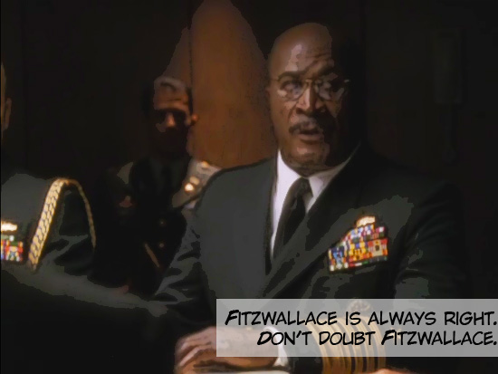 """Admiral Fitzwallace addresses the President in the Situation Room at the White House on the 1999-2006 television drama The West Wing. Season 1, episode 3 """"A Proportional Response."""""""