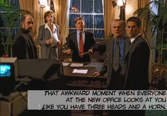 """Toby Zeigler (Richard Schiff), C.J. Cregg, President Bartlet (Martin Sheen), Leo McGarry (John Spencer) and Sam Seaborn (Rob Lowe) stare open-mouthed at off-screen Charlie Young on the 1999-2006 television drama The West Wing. Season 1, episode 3 """"A Proportional Response."""""""
