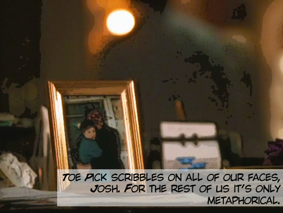 """Still of the show """"The West Wing."""" A table with a portrait of a man and a woman hugging."""