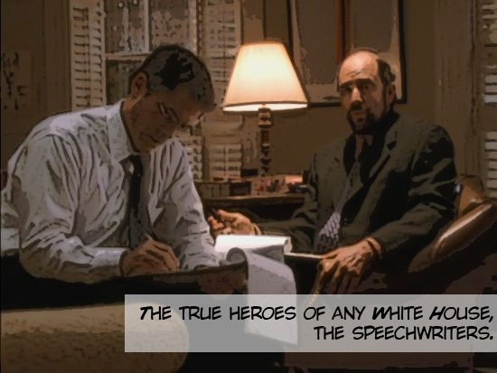 Toby and Sam sitting in Toby's office, writing public remarks for the President on the 1999-2006 television series The West Wing.