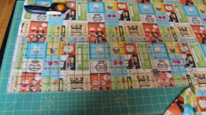 Fabric laid out on cutting mat with ruler