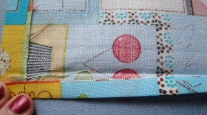 Fabric folded over 1/4 inch