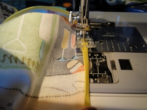 Sewing bias tape on machine