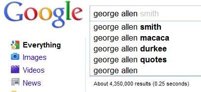 """A screengrab of Google shows that the second suggestion for """"George Allen"""" is """"George Alen macaca."""""""