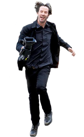 Lower body of Keanu Reeves strutting.