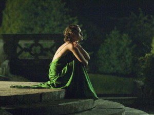 Keira Knightley on the set of Atonement, wearing a green dress
