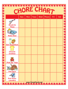 Grid with chores for children