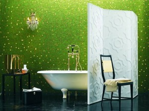 Green tile-walled bathroom