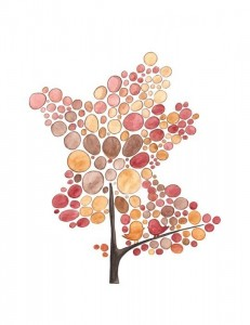 Watercolor painting of a tree made out of pink-toned circles with two pink lovebirds