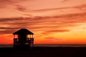 Beach hut sunrise