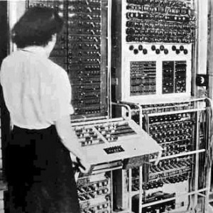 woman working on Colossus computer