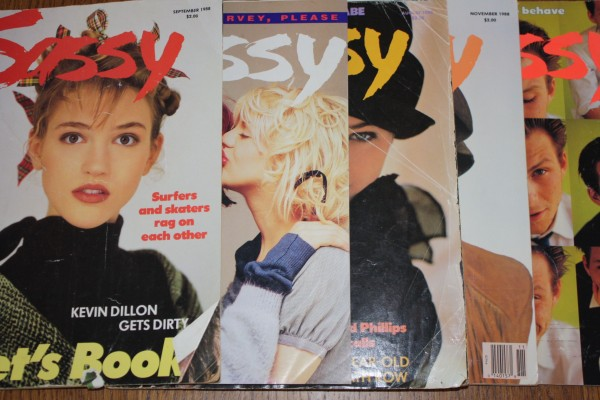four issues of Sassy Magazine