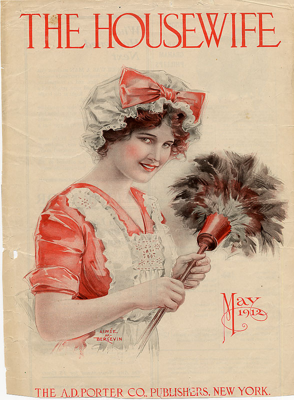 Cover of The Housewife Magazine from May 1912. Young woman in red and white maid's outfit with a white maid's cap, smiling and holding a feather duster.