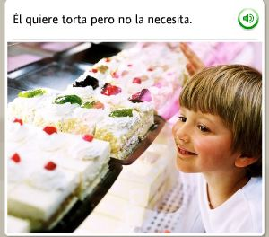 "Image of a young boy smiling and looking at a case of cakes.  Spanish text reads, ""El quiere torta pero no la necesita."""