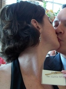 Kissing my husband because I'm married and that's my husband