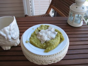 Green Pea Ring with Creamed Mushroom Sauce