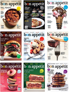 nine covers from bon appetit magazine's archives, each featuring a plate of food as a central image