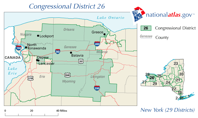 map of New York State's 26 congressional district stretching from Buffalo to Rochester