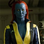 Image of Mystique in her natural form, with blue scaly skin and red hair.