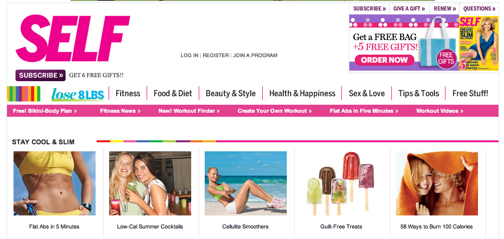 Screenshot from Self magazine depicting different exercises and diet foods.