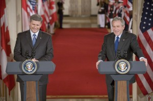 Canadian Prime Minister Stephen Harper with George W. Bush