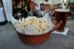 Bowl of Founding Farmers popcorn.