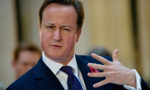 prime minister david cameron with furrowed eyebrows and tight lips holiding his hand up sideways in front of him, palm facing toward him