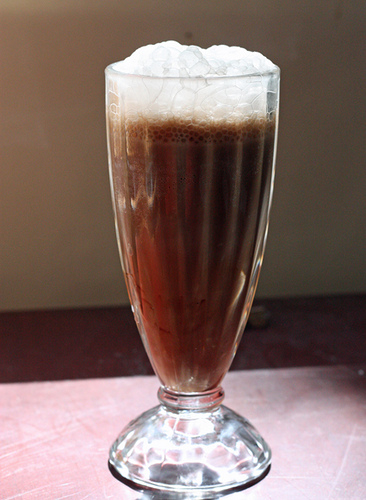 Tall glass of egg cream
