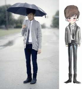 A young Asian man dressed in slim black jeans, black boots, a grey sweater over a white shirt and a shiny grey tie, holding an umbrella. Next to him is a watercolor painting of himself in that outfit.