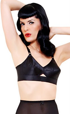 1950s vintage black bullet bra, courtesy of Blog for Better Sewing.