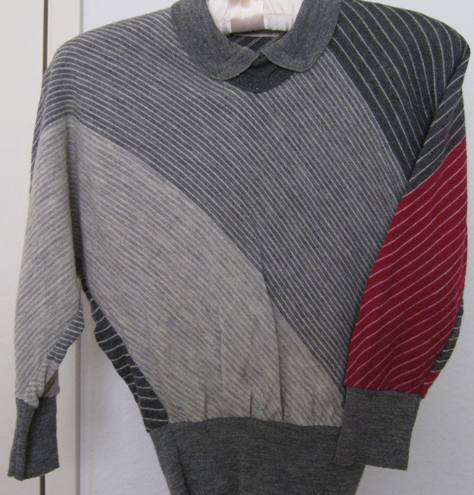 1950s grey and red wool pullover sweater (from my collection).