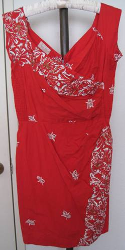 1950s peggy wood red faux wrap dress