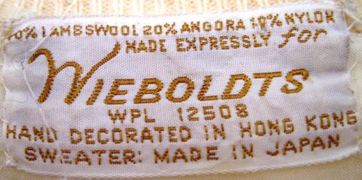 Wieboldt's tag from the 1950s vintage sequin cream cardigan (from my collection).