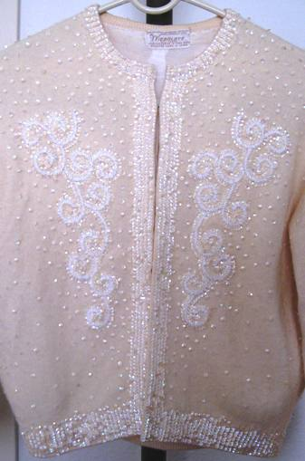 1950s vintage sequin cream cardigan (from my collection).
