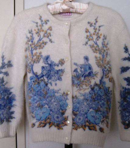 1980s vintage angora cardigan (from my collection).