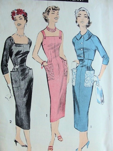 1950s vintage wiggle dress pattern, courtesy of So Vintage Patterns.