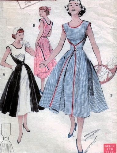1950s vintage sleveless dress with full skirt pattern, courtesy of So Vintage Patterns.
