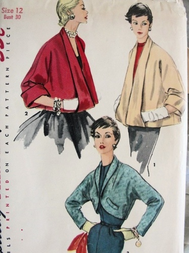 1950s vintage cropped swing coat pattern, courtesy of So Vintage Patterns.