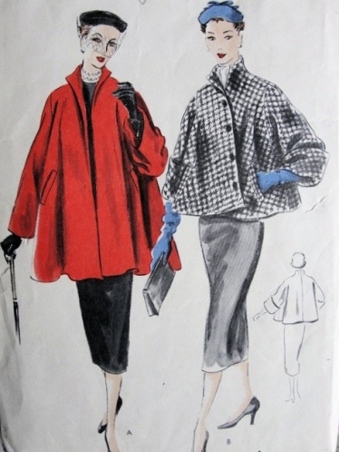 1950s swing coat pattern, courtesy of So Vintage Patterns.