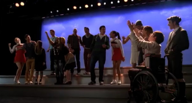 Screenshot of Glee cast performing We Are Young by Fun