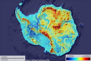 Topographic map of the surface of Antarctica