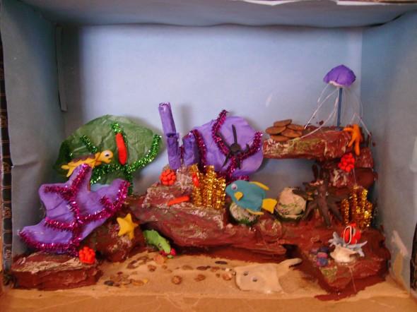 Shoebox diorama of a coral reef