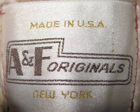 Label, vintage 1970s suede car coat (from my collection).