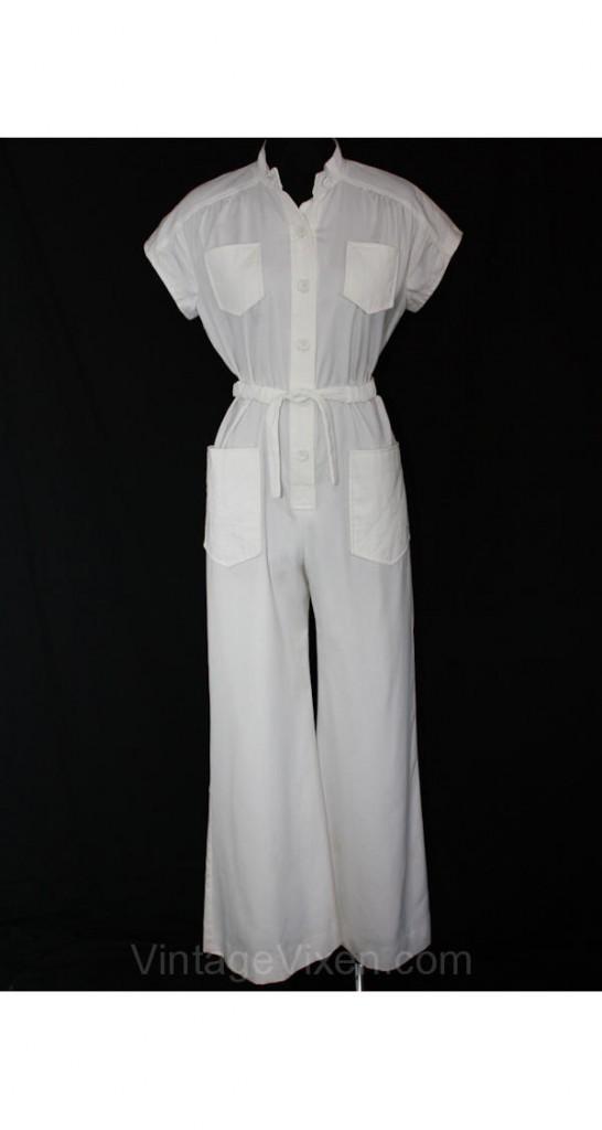 70s white cotton jumpsuit, pic courtesy of Vintage Vixen.